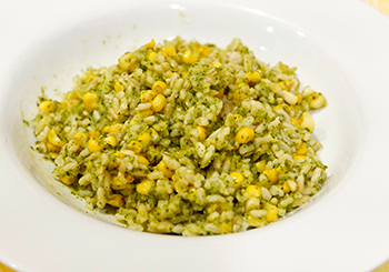 Poblano Corn Rice recipe from Dr. Gourmet, a heart side dish for roasted chicken, pork, or beef