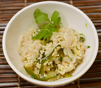 Poblano Lime Rice, an easy healthy side dish recipe from Dr. Gourmet