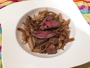 Steak au Poivre with Penne recipe from Dr. Gourmet