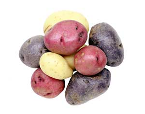 Round Red Potatoes, Round White Potates and Purple Potatoes