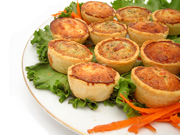 a plate of mini-quiches