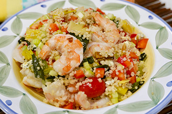 Shrimp and Leek Quinoa Salad recipe from Dr. Gourmet