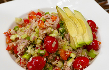 Quinoa Salad with Tuna and Avocado recipe from Dr. Gourmet