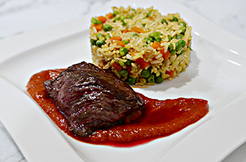 Saffron Brown Rice recipe from Dr. Gourmet - a combination starch and vegetable side dish