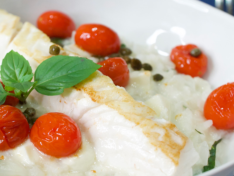 Risotto Caprese with Whitefish recipe from Dr. Gourmet