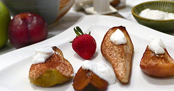 Roasted Pears and other fruit with Honey Yogurt Sauce, two recipes from Dr. Gourmet