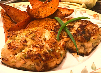 Salmon Cakes with Cajun Yam Fries, recipes from Dr. Gourmet