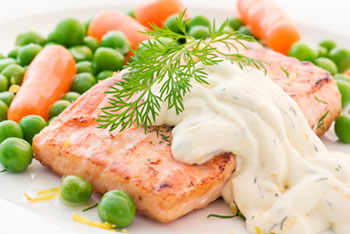 salmon filet topped with caper mayonnaise sauce - click for recipe!