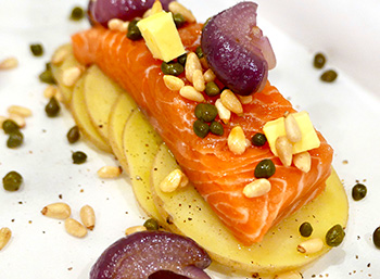 Salmon in Parchment with Capers and Cipollini Onions, a recipe from Dr. Gourmet