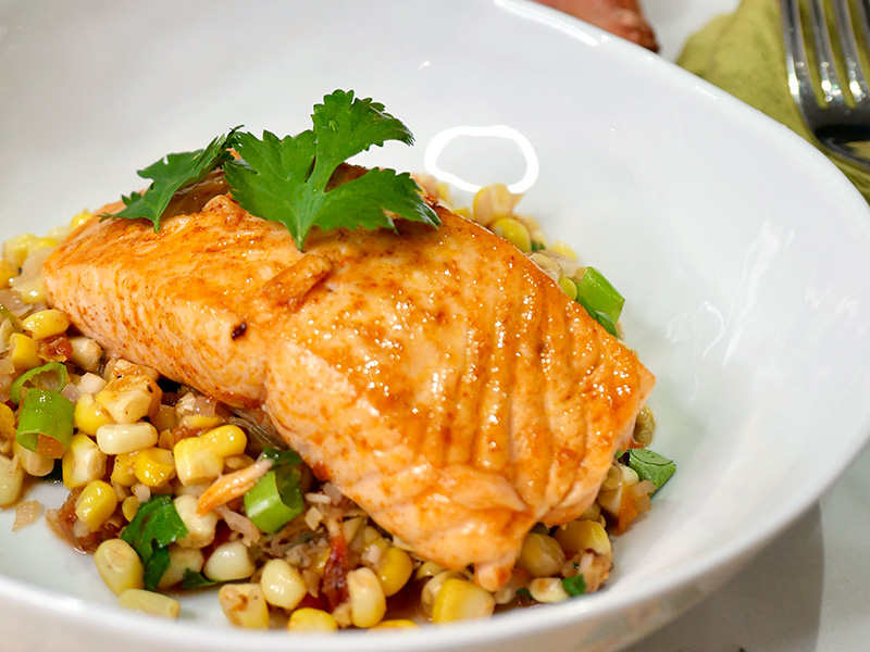 Roasted Salmon and Corn Relish