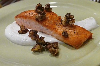Salmon with Candied Jerk Walnuts recipe from Dr. Gourmet