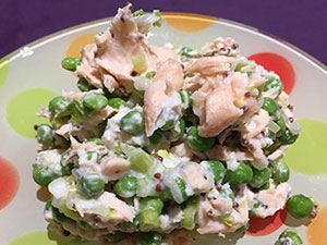 This easy recipe for Salmon Salad with Mustard and Peas makes a great main course or sandwich filling