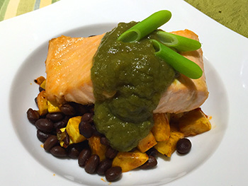 Salmon with Poblano Sauce over Black Beans with Summer Squash - two recipes from Dr. Gourmet
