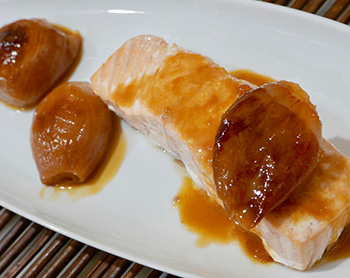 Seared Salmon with Roasted Shallot Sauce recipe from Dr. Gourmet