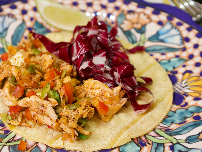 Salmon Salad Tacos recipe from Dr. Gourmet