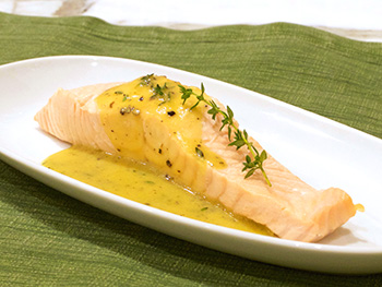 Poached Salmon with Mustard Thyme Vinaigrette recipe from Dr. Gourmet