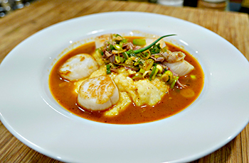 Scallops and Grits, an easy 30 minute healthy recipe from Dr. Gourmet