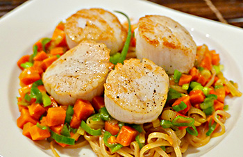 Seared Scallops with Pad Thai Style Noodles