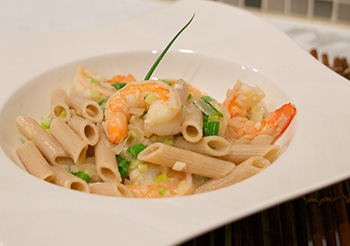Penne with Shrimp and Mustard Sauce recipe from Dr. Gourmet