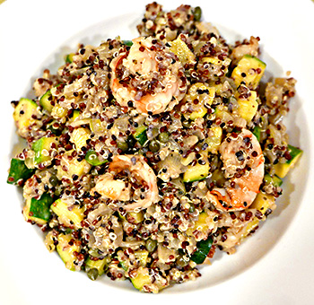 Quinoa Salad with Shrimp and Zucchini recipe from Dr. Gourmet