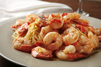 A diabetic and Coumadin-user friendly shrimp and pasta dish