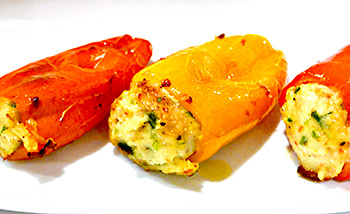 Shrimp and Goat cheese Stuffed Peppers recipe from Dr Gourmet