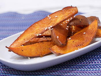 Soy Sweet Potato Wedges recipe from Dr. Gourmet