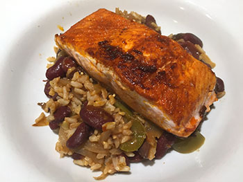 Salmon with Spanish Beans and Rice recipe from Dr. Gourmet