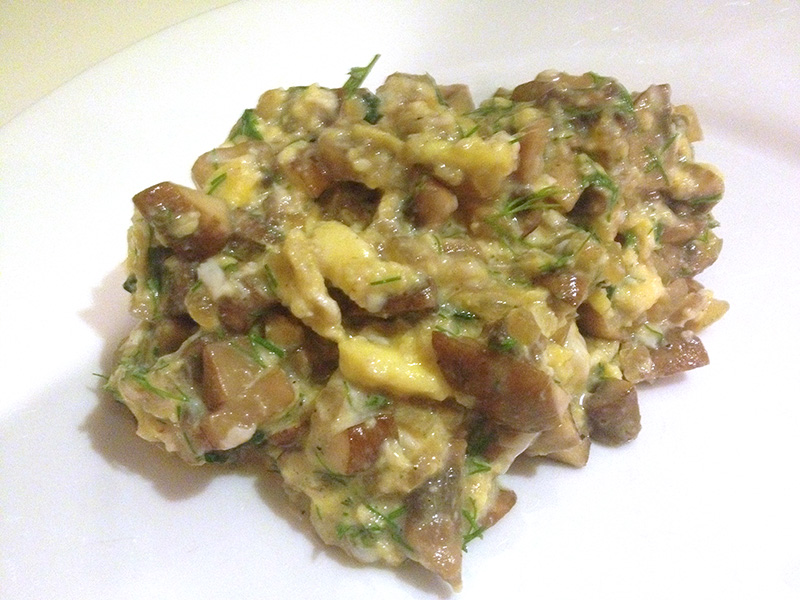 Spanish Scrambled Eggs with Mushrooms recipe from Dr. Gourmet