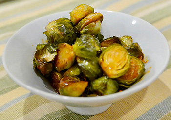 Sriracha Roasted Brussels Sprouts recipe from Dr. Gourmet