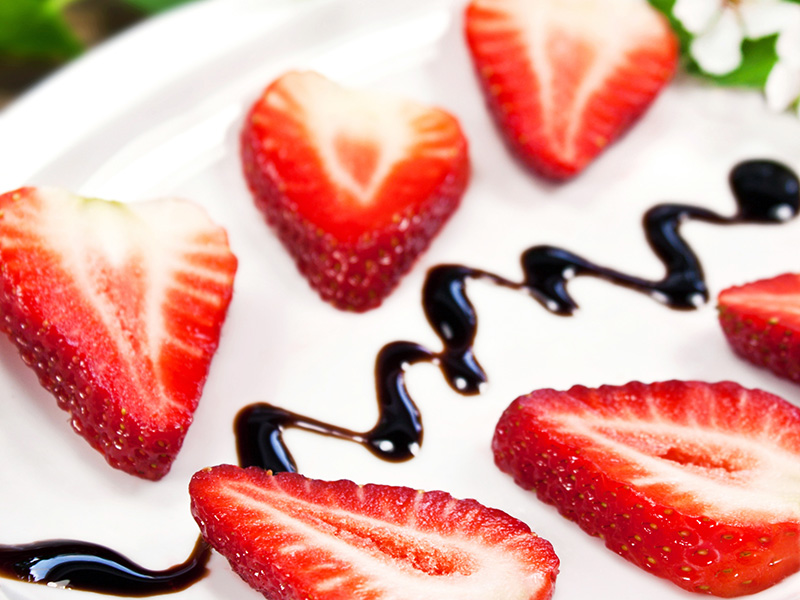 Strawberries with Balsamic Reduction, a healthy dessert recipe from Dr. Gourmet