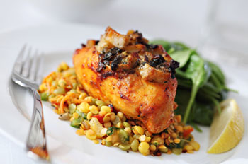 Creole Stuffed Chicken Breast - click for the recipe from Dr. Gourmet