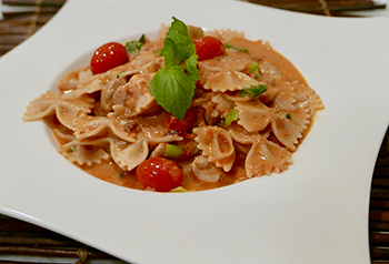 Creamy Sun-Dried Tomato Pasta recipe from Dr. Gourmet