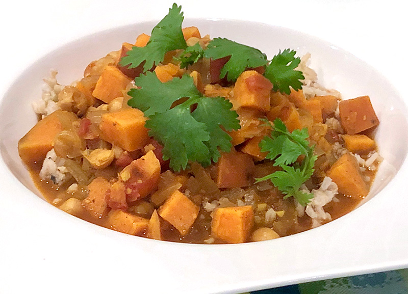 Sweet Potato Curry, a healthy vegetarian recipe from Dr. Gourmet