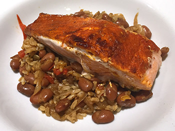 Salmon with Southwest Beans and Rice recipe from Dr. Gourmet