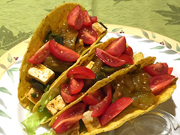 Healthy Tomatillo Tofu Tacos from Dr. Gourmet
