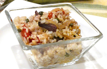 Tomato Shallot Rice recipe from Dr. Gourmet