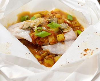 Fish in Parchment with Manhattan Clam Chowder recipe from Dr. Gourmet
