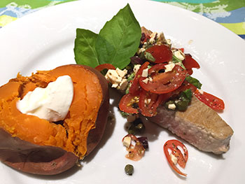 Seared Tuna with Tomato and Feta Salad recipe from Dr. Gourmet