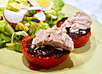 Tuna and Tomato with Tapenade salad recipe from Dr. Gourmet