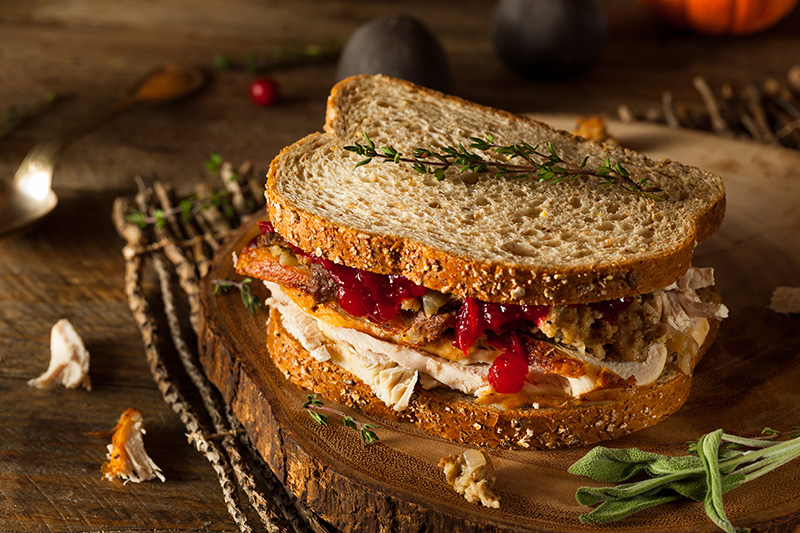 a turkey sandwich on whole grain bread