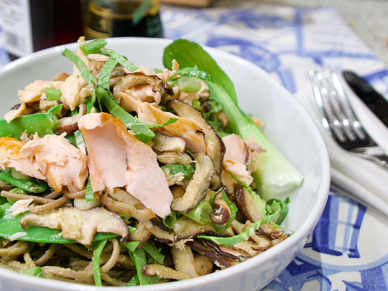 Udon Noodle Salad with Salmon recipe from Dr. Gourmet