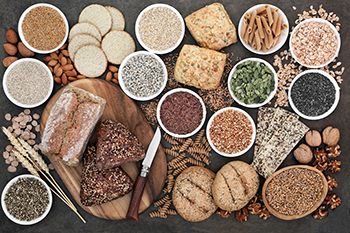 an assortment of whole grains and items made from whole grains