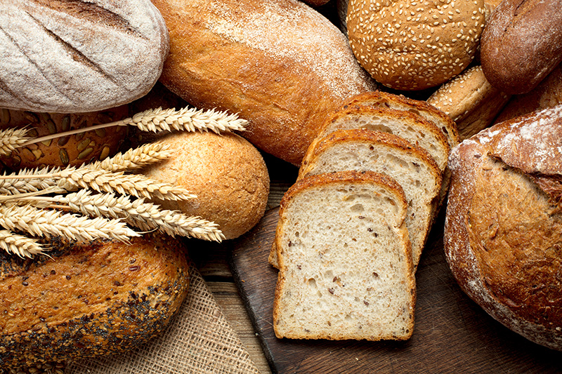 a variety of breads made from whole grains