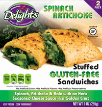 Spinach Artichoke Delights Gluten-Free Stuffed Sandwiches reviewed by Dr. Gourmet
