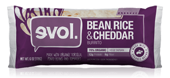 Dr. Gourmet reviews the Beans, Rice & Cheddar Burrito from evol Foods