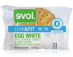 Dr. Gourmet reviews the Egg White, Kale, Roasted Tomato & Goat Cheese breakfast sandwich from evol Foods