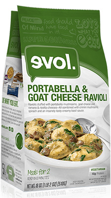 Dr. Gourmet reviews the Portabell and Goat Cheese Ravioli that serves two people from evol Foods