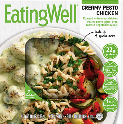 Dr. Gourmet reviews the Creamy Pesto Chicken meal from EatingWell