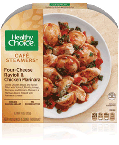 Dr. Gourmet reviews the Four-Cheese Ravioli & Chicken Marinara from Healthy Choice